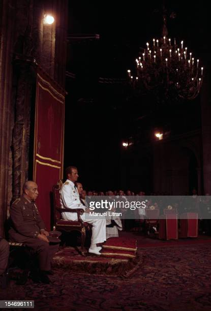 Spain in July 1971 Juan Carlos of Spain Saint Jacques de Compstelle the cathedral the prince in the uniform of general of brigade sitting on a throne...