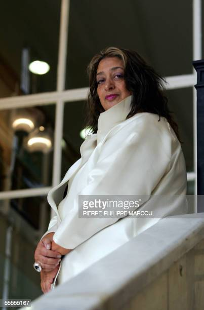 Iraqi architect Zaha Hadid poses outside the Circulo de Bellas Artes in Madrid 15 September 2005 Hadid will be in charge of the 2008 Spanish...