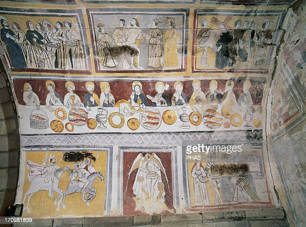 Spain La Loma Church of Saint Eulalia Apse frescoes depicting scenes from the Passion of Christ and the life of Saint Olalla In the center the Last...