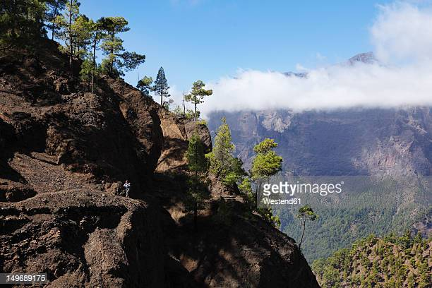 Spain, La, Palma, Mature woman hiking in Caldera de Taburiente National Park
