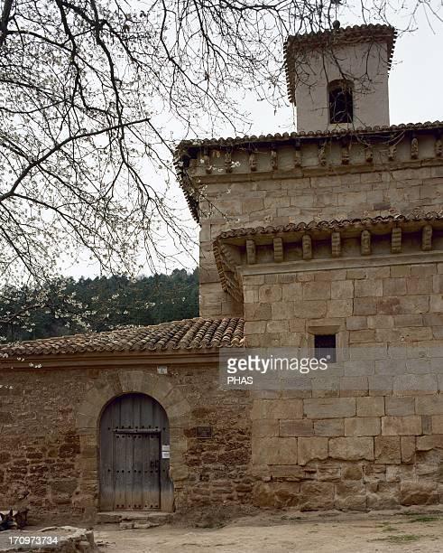 Spain La Rioja San Millan de la Cogolla Monastery of San Millan de Suso built in different styles Visigoth Romanesque and Mozarab Exterior