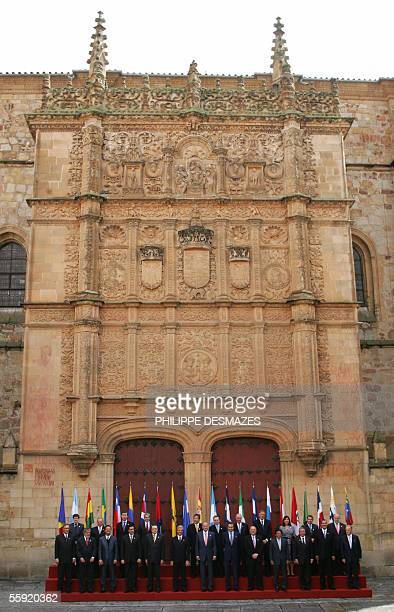 Leaders of Latin America Spain Portugal and Andorra pose for the official picture in front of the main gate of the University of Salamanca on the...