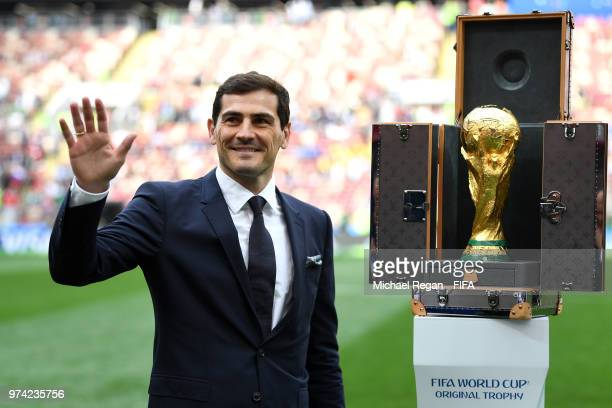 Spain Legend Iker Casillas is seen next to the World Cup trophy prior to the 2018 FIFA World Cup Russia Group A match between Russia and Saudi Arabia...