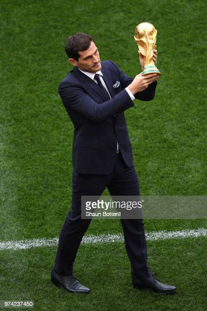 Spain legend Iker Casillas lifts the World Cup trophy the 2018 FIFA World Cup Russia Group A match between Russia and Saudi Arabia at Luzhniki...