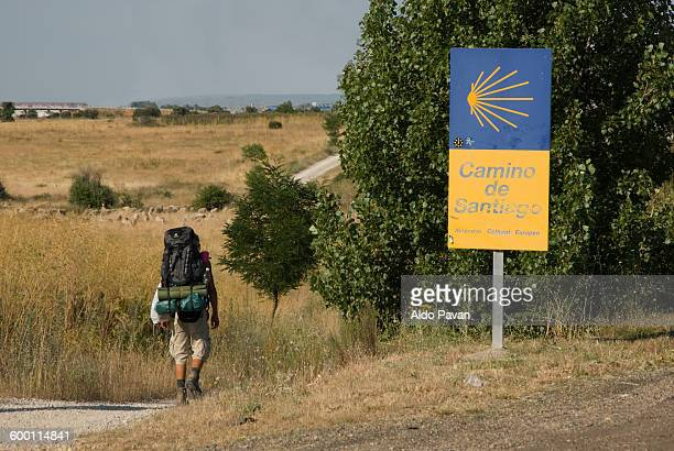 spain, leon, pilgrim on the camino de santiago - cammino di santiago di compostella foto e immagini stock