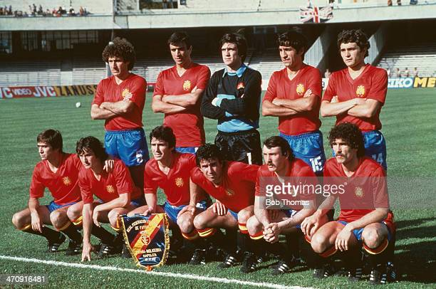 Spain line up during the UEFA European Championships 1980 Group 2 match between England and Spain held on June 18 1980 at the Stadio San Paolo in...