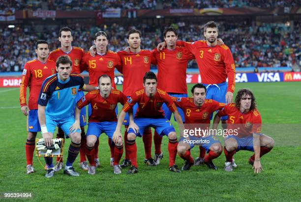 Spain line up for a group photo before the FIFA World Cup Semi Final between Germany and Spain at the Moses Mabhida Stadium on July 7 2010 in Durban...