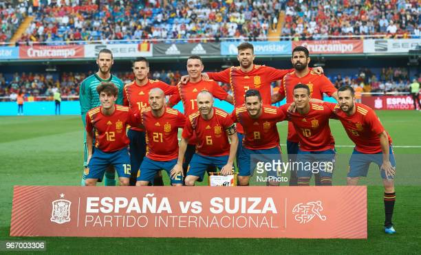 Spain line up prior the International friendly football match between Spain and Suisse at La Ceramica Stadium Vilareal on June 3 2018