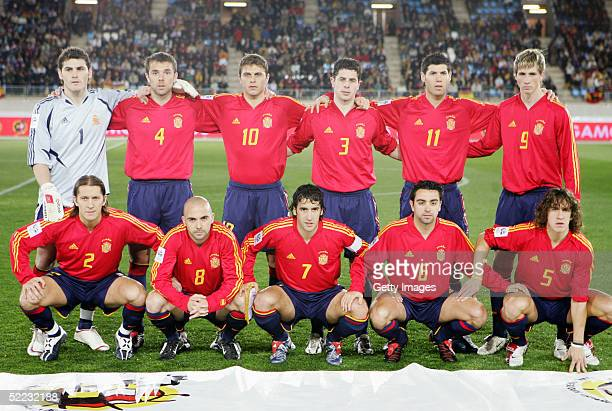 Spain line up prior to the World Cup Qualifier between Spain v San Marino held at the Estadio Juan Rojas on February 9 2005 in Almeria Spain