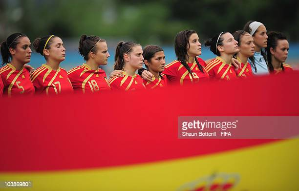 Spain lineup before the FIFA U17 Women's World Cup Group C match between Spain and Japan at the Ato Boldon Stadium on September 6 2010 in Couva...