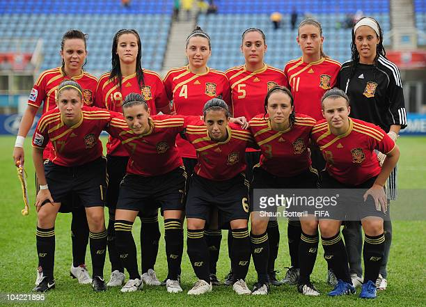 Spain lineup before the FIFA U17 Women's World Cup Quarter Final match between Spain and Brazil at the Ato Boldon Stadium on September 17 2010 in...