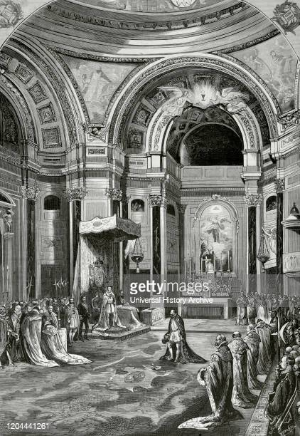 Spain, Madrid. Chapter held by the Knights of the Royal Order of Charles III, under the presidency of King Alfonso XII, in the chapel of the Royal...