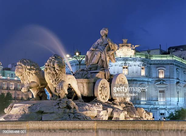 Spain, Madrid, Cibeles Fountain, night