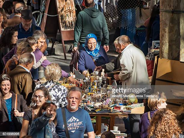 spain, madrid, el rastro flea market - antiquities stall - el rastro stock pictures, royalty-free photos & images