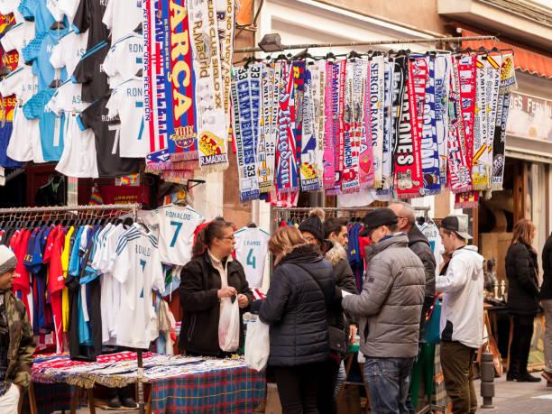 Spain, Madrid, El Rastro flea market -Football