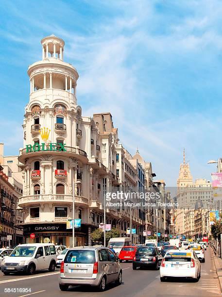 Spain, Madrid, Gran Via Avenue - Traffic