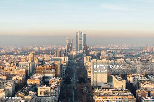 spain, madrid, helicopter view ofcity downtown - madrid fotografías e imágenes de stock