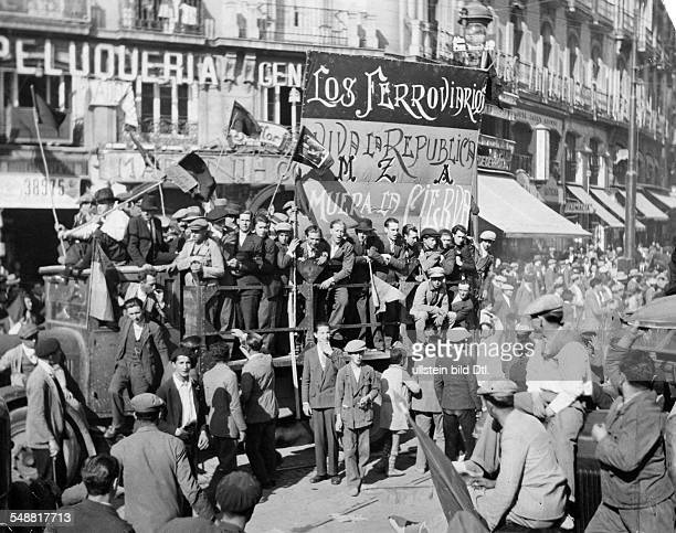 Spain Madrid Madrid communal elections 1931 Demonstration of the der republican railway employees Photographer Malina Published by 'Zeitbilder'...