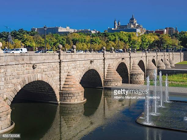 spain, madrid,  madrid rio - puente de segovia - segovia stock photos and pictures