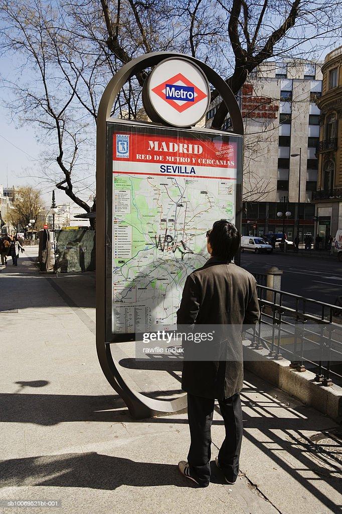 Man Looking At Subway Map.Spain Madrid Man Looking At Subway Map Stock Photo Getty Images
