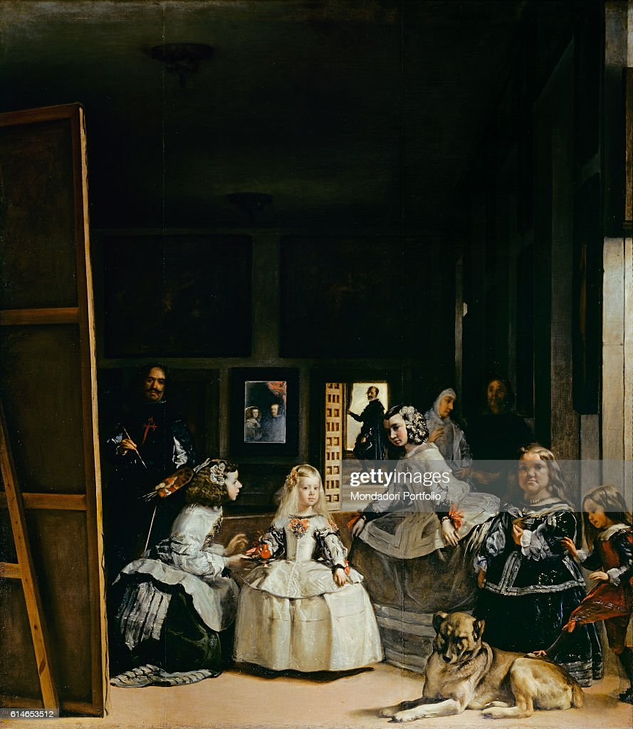 Spain, Madrid, Museo del Prado, Whole artwork view. The infanta of Spain Margaret Theresa of Habsburg in the middle of the scene surrounded by her maids of honour. The painter Diego Velazquez standing in front of the easel. In the background, a mirror reflecting the faces of the Philip IV King of Spain and his wife.