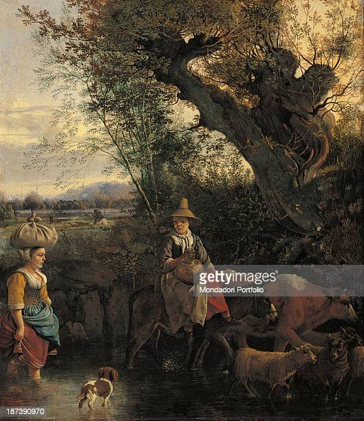 Spain Madrid Museo ThyssenBornemisza All Painting showing a woman holding a sack on her head and another on the back of a donkey both crossing a...