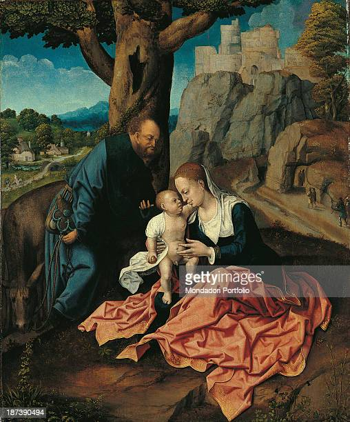 Spain Madrid Museo ThyssenBornemisza All Sacred Family rests during the Flight into Egypt Madonna the Virgin Mary Mother of Child Jesus in arms with...