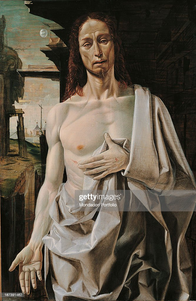 Ecce Homo, by Suardi Bartolomeo known as Bramantino, 15th Century, 1490, oil on board, cm 109 x 73 : News Photo