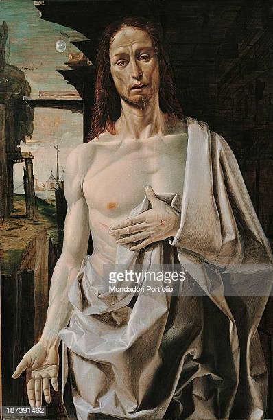 Spain Madrid Museo ThyssenBornemisza Total The risen Christ's face and chest with drapery and a cloth Behind Him a landscape