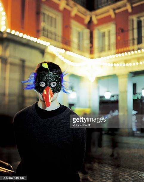 spain, madrid, person in mask during new year celebration in plaza - bec photos et images de collection