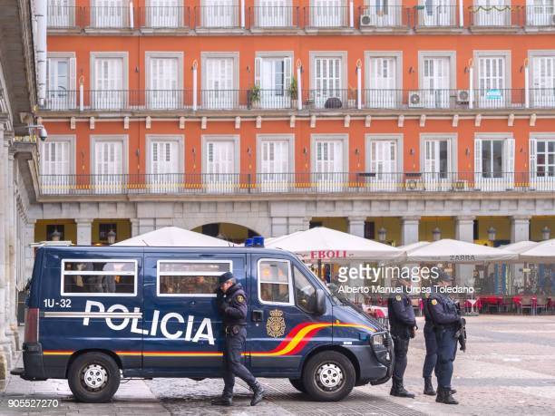 Spain, Madrid, Plaza Mayor, National Police Officers