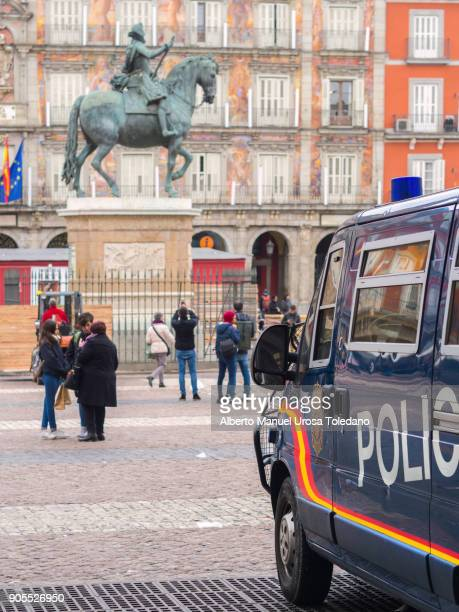 Spain, Madrid, Plaza Mayor, National Police Van