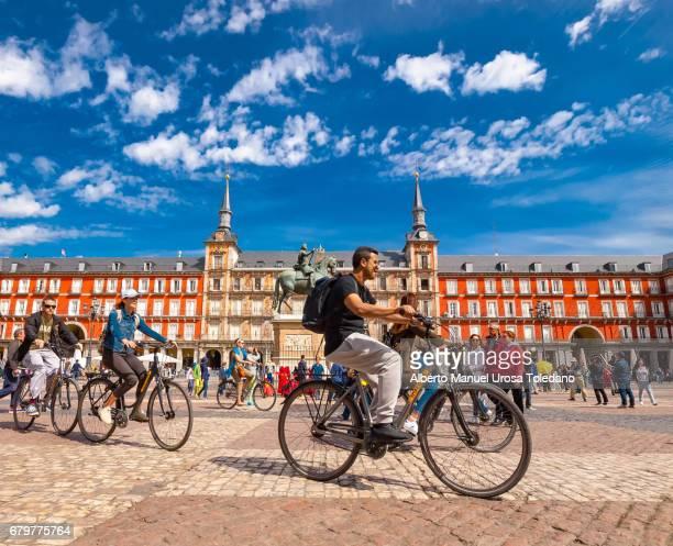 Spain, Madrid, Plaza Mayor square - Cycling