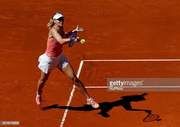 Russian tennis player Mar��a Shar��pova returns the ball to French tennis player Caroline Garcia during the Madrid WTA Masters Series Tournament...