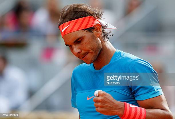 Spanish tennis player Rafael Nadal celebrates after winning his match against American tennis player Steve Johnson during the Madrid ATP Masters...