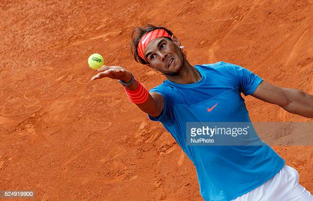 Spanish tennis player Rafael Nadal serves against American tennis player Steve Johnson during the Madrid ATP Masters Series Tournament tennis match...