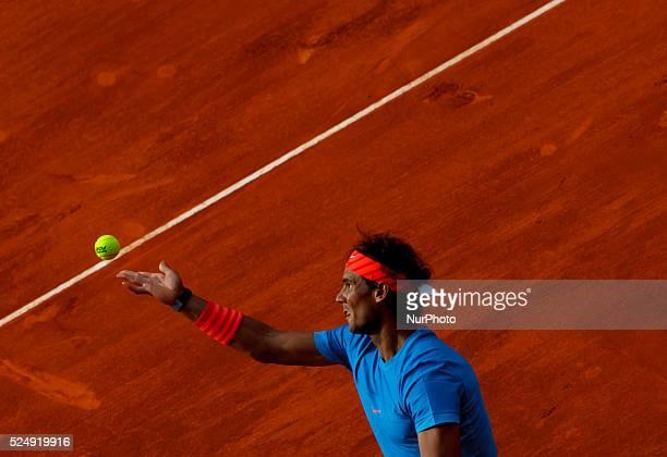 Spanish tennis player Rafael Nadal serves against American tennis player Steve Johnson during the Madrid ATP Masters Series Tournament tennis match,...