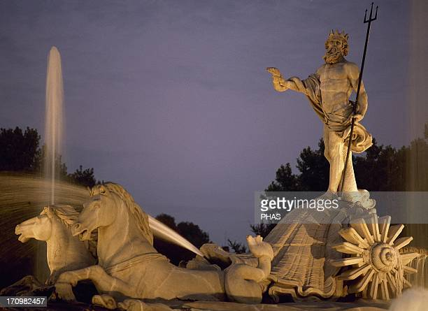 Spain Madrid The Neptune Fountain Built by Juan Pascual de Mena 1780 In 1786 his disciple Jose Rodriguez finished off the project Neoclassical Night...