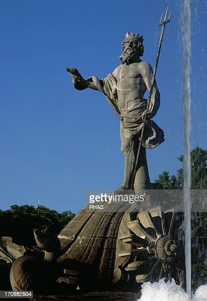 Spain Madrid The Neptune Fountain Built by Juan Pascual de Mena 1780 In 1786 his disciple Jose Rodriguez finished off the project Neoclassical