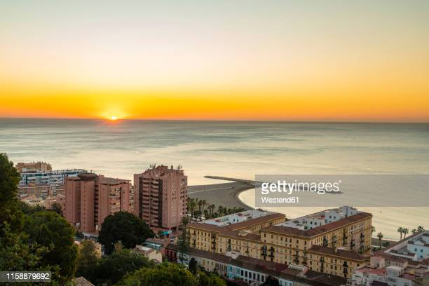 spain, malaga, view from the view point of gibralfaro by the castle by sunrise - マラガ県 ストックフォトと画像