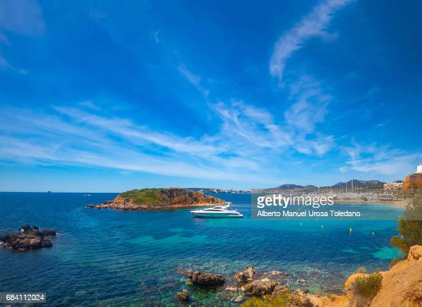 spain, mallorca island, s'oratori beach - portals nous - palma majorca stock photos and pictures