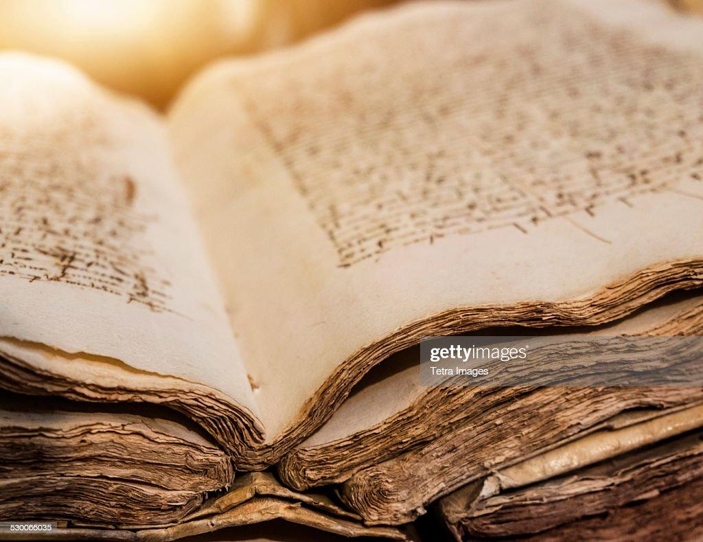 Spain, Mallorca, Library in monastery, Valldemossa, Ancient manuscript : Stock Photo