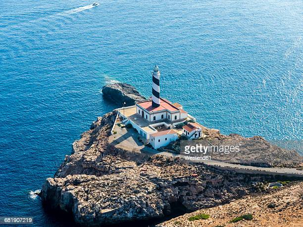 spain, mallorca, palma de mallorca, aerial view, cap de cala figuera, lighthouse - palma majorca stock photos and pictures