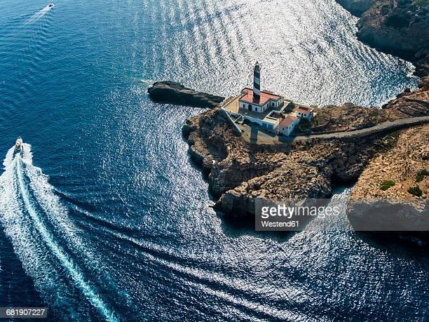 Spain, Mallorca, Palma de Mallorca, Aerial view, Cap de Cala Figuera, lighthouse