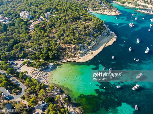 spain, mallorca, palma de mallorca, aerial view, el toro, beach near portals vells - palma majorca stock photos and pictures
