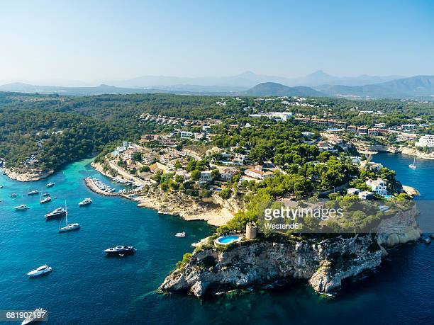 spain, mallorca, palma de mallorca, aerial view, el toro, villas and yachts near portals vells - palma majorca stock photos and pictures