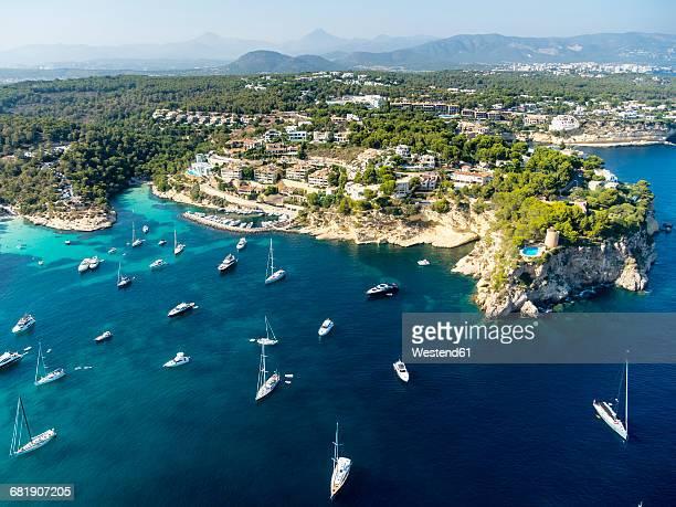 Spain, Mallorca, Palma de Mallorca, Aerial view, El Toro, Villas and yachts near Portals Vells