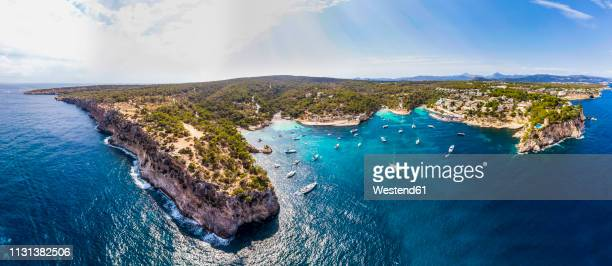 spain, mallorca, palma de mallorca, aerial view of calvia region, el toro, portals vells - balearic islands stock pictures, royalty-free photos & images