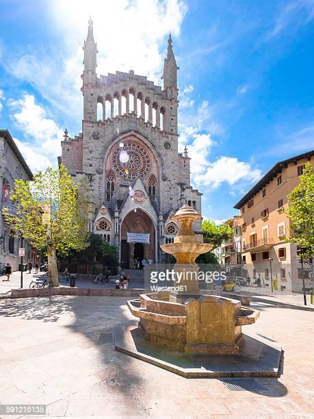 Spain, Mallorca, Soller, San Bartomeu Church at Placa Constitucio