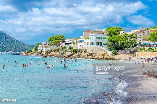 spain, mallorca, view to beach of sant elm - majorca stock pictures, royalty-free photos & images